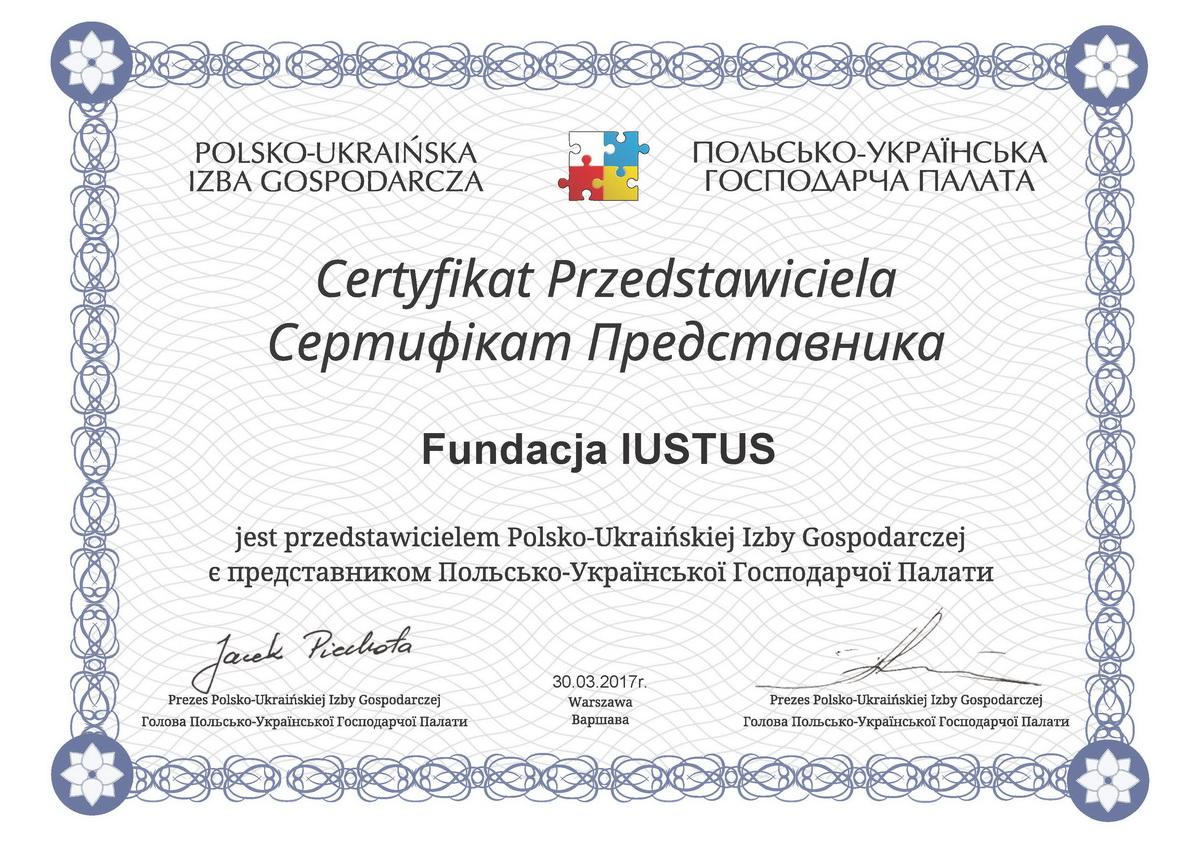 Certyfikat Przedstawicielstwa PUIG w Rzeszowie dla IUSTUS